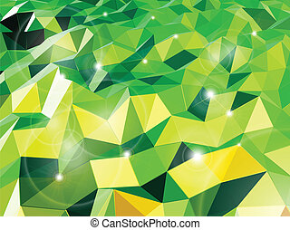 Green abstract background with triangles. Vector