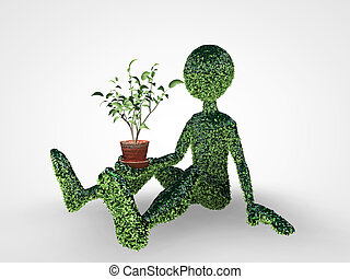 grass man with a small plant on the palm of his hand