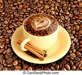 Cafe Latte - A latte or a cup of mocha isolated on a white...