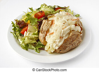 Coleslaw Jacket Potato with side salad - A Coleslaw baked...