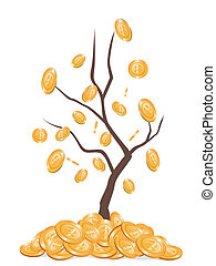 money falling from tree