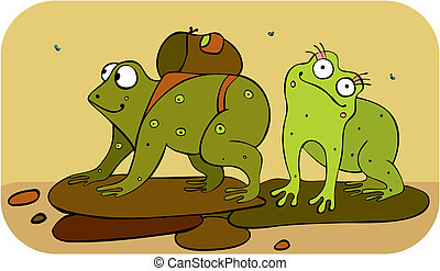 Frogs Hiker - Two green frogs have gone to travel
