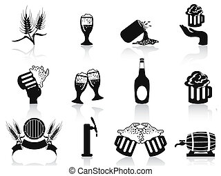 black beer icons set - isolated black beer icons set on...