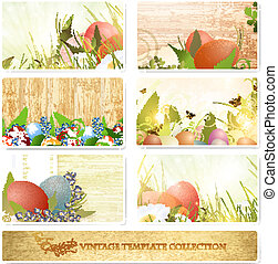 Easter vintage floral template collection with eggs over...