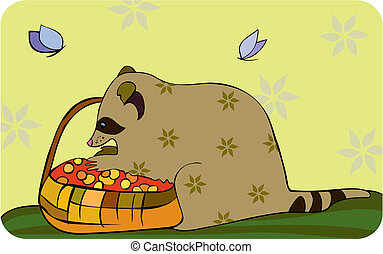 Racoon Basket Berries - little raccoon pick berries in...