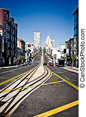 California Street in San Francisco during summer day