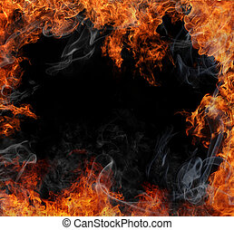 Fire background - Fire flames with free space inside
