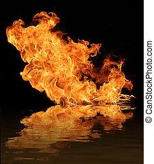 brûler, flamme, eau, reflet