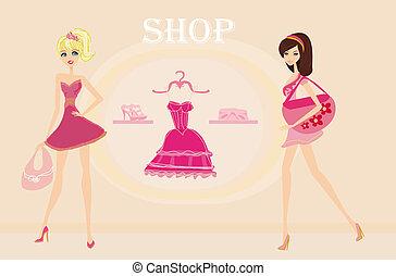 fashion girls Shopping