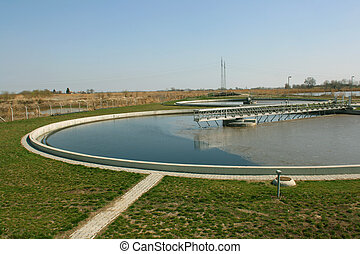 Water treatment - Circle pools for recycling of polluted...