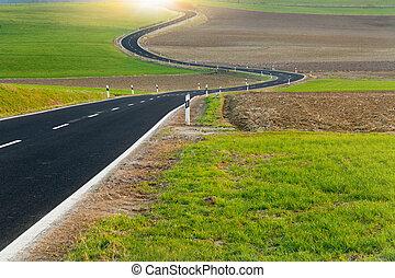 Bobina, largo, camino