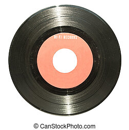 Vintage vinyl record with red label isolated on white
