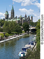 Summer Parliament - Yachts mooring on the Rideau Canal below...