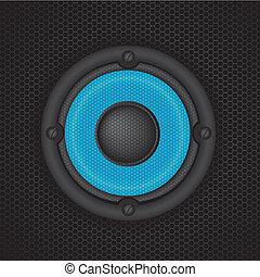 speaker vector - blue speaker over black background. vector...