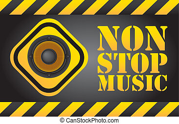 non stop music - speaker over sign, non stop music...