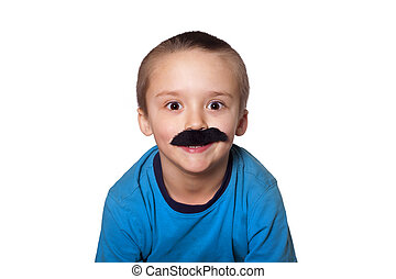 Crazy boy with mustache - Silly toddler wearing a big fake...