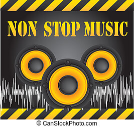 non stop music - speakers over black background, non stop...