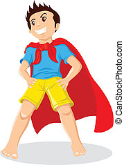 Kid Superhero - Cartoon illustration of a kid playing a...