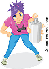 Spraying - Cartoon illustration of an attractive girl...