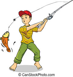 Fishing - Cartoon illustration of a boy fishing