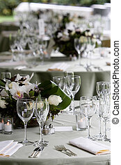 Table set for a banquet or event