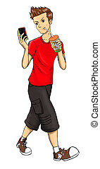 Teenager - Cartoon illustration of a teenager holding a...