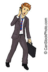 Businessman - Cartoon illustration of a businessman talking...