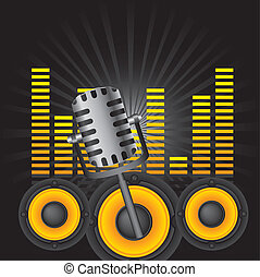 music background - microphone and speakes, music background....
