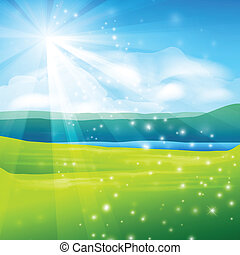 abstract summer landscape background - vector illustration