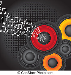 speakers with music notes over black background vector