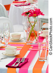 Orange and Pink Wedding Tables