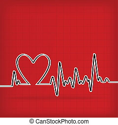 White Heart Beats Cardiogram on Red background - vector...