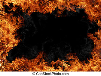 Fire background - Burning fire frame isolated on black...