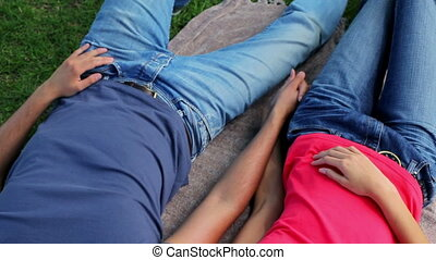 Happy couple lying on a blanket while holding their hands in...