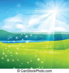 abstract summer landscape background - vector illustration