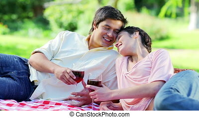 Happy couple sitting on a blanket while drinking red wine in...