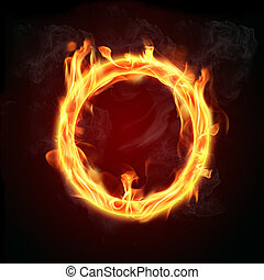 Fire ring - Abstract fire shape on black background