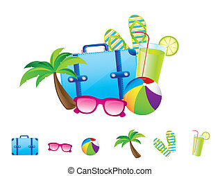 summer elements isolated over white background vector