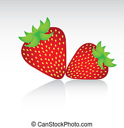 strawberries with shadow background vector illustration