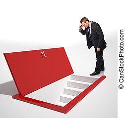 different view - man look into a red door on floor