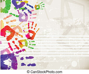 Retro Abstract Design Colorful Handprint Template - vector...
