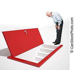 point of view - old man look red door on floor