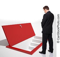 open door - standing man and 3d door on floor