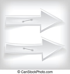 vector illustration of two white arrow