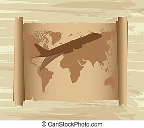 air plane over map - air plane with map over old paper...