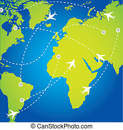 travel background - travel routes with plane background...
