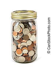 Jar Full Of Change - A full mason jar of change.