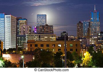 發光, 月亮, 上升, 後面, the, 丹佛, CO, 地平線