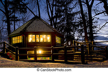 Gazebo at Dusk - A gazebo in the evening glow in Montebello...