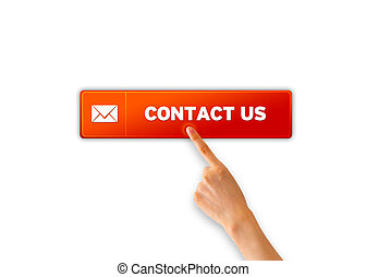 Contact Us - Hand pointing at a Contact Us Icon on white...